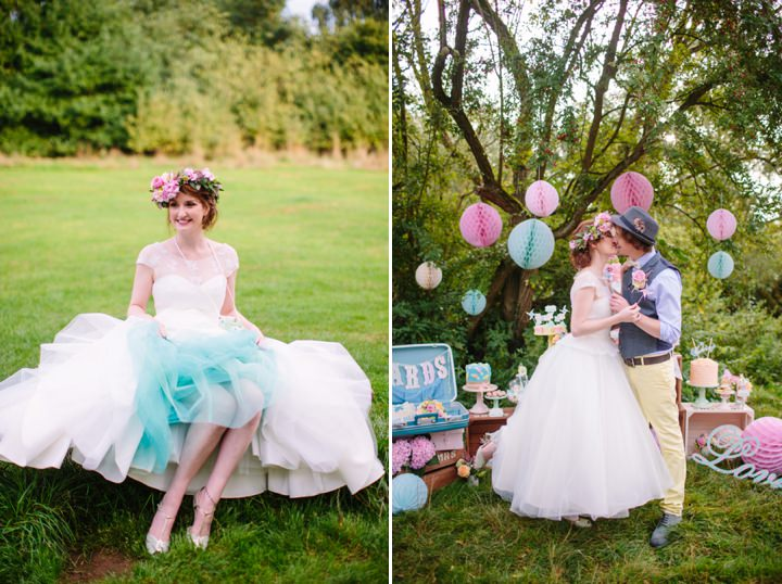 Picture Of dreamy and cute pastel glamping wedding shoot  22