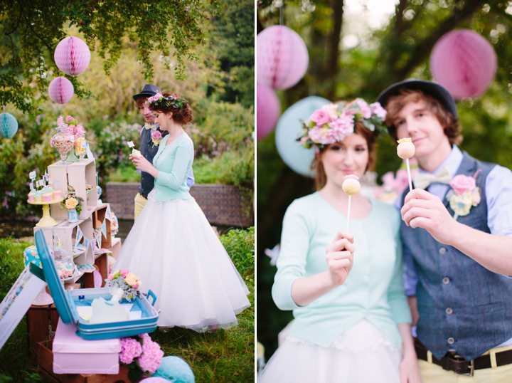 Picture Of dreamy and cute pastel glamping wedding shoot  23