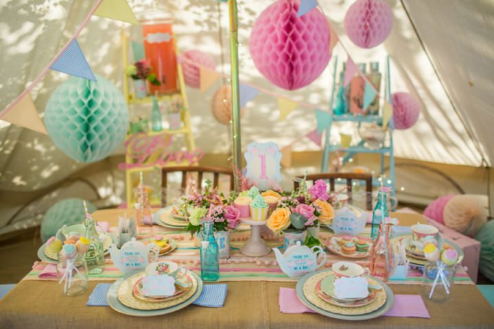 Picture Of dreamy and cute pastel glamping wedding shoot  7