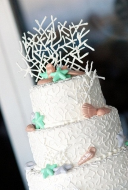 a white textural wedding cake with red seashells and green starfish plus a creative sugar topper for a beach wedding