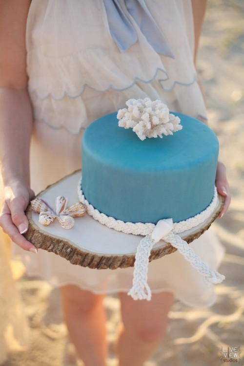 a plain blue wedding cake accented with rope and a coral on top is a lovely idea for a coastal wedding, too