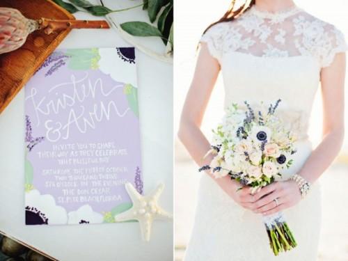 Dreamy Lavender Inspired Wedding Beach Shoot