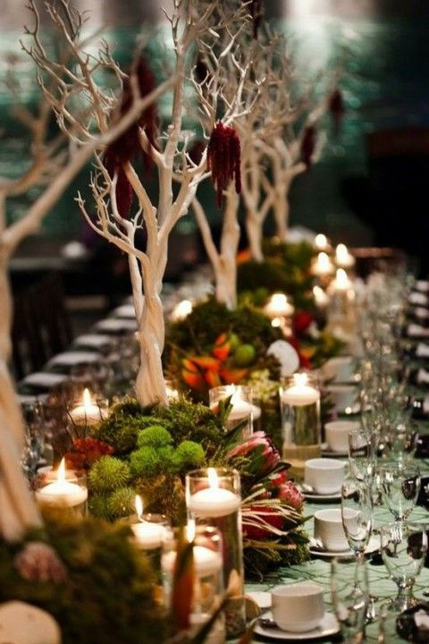 a woodland inspired wedding tablescape with trees, greenery, blooms and candles