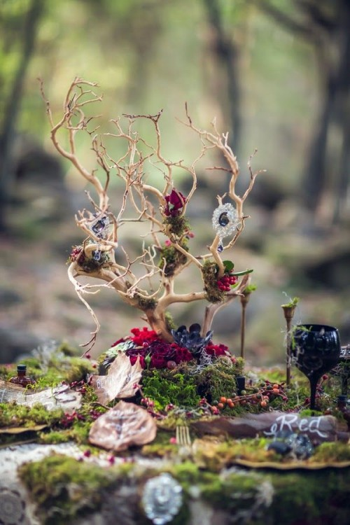 a catchy woodland wedding centerpiece of branches, moss, blooms will be ideal for the fall