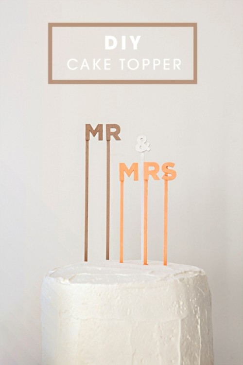 Simple And Cute DIY Wedding Cake Topper Sayings (via weddingomania)