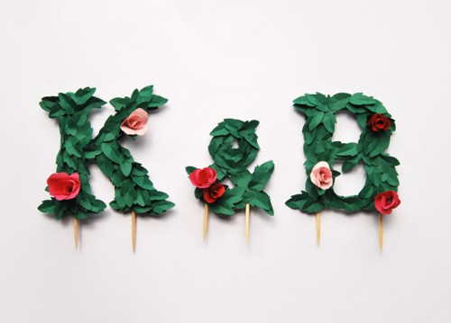 DIY Paper Flower Monogram Cake Topper (via designsponge)
