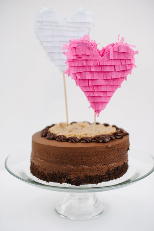 DIY Fringe Heart Cake Topper (via minted)