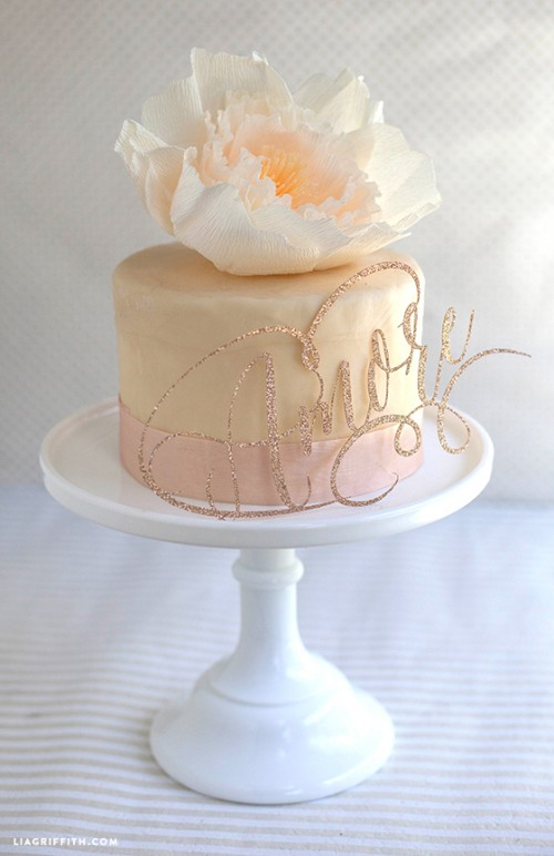 Sparkly DIY Cake Toppers for Weddings  (via liagriffith)
