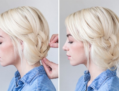 Pretty DIY Tucked Braid Hair Updo For A Bride Or Bridesmaids