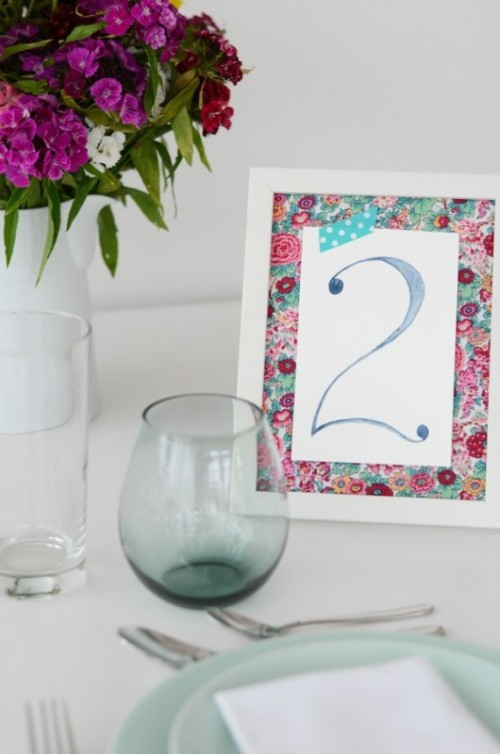 Easy And Pretty DIY Watercolor Table Numbers