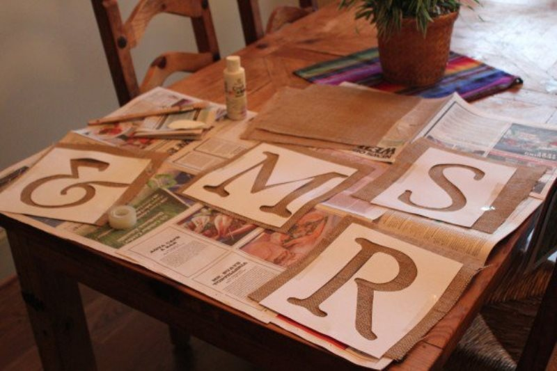 Picture Of easy diy mr and mrs burlap banner  2