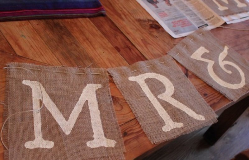 Picture Of easy diy mr and mrs burlap banner  3