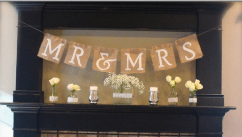 Picture Of easy diy mr and mrs burlap banner  4
