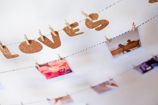 Picture Of easy diy polaroid photo banner for wedding decor  6