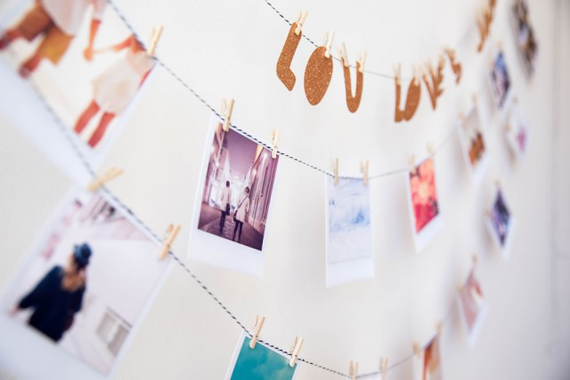 Picture Of easy diy polaroid photo banner for wedding decor  7