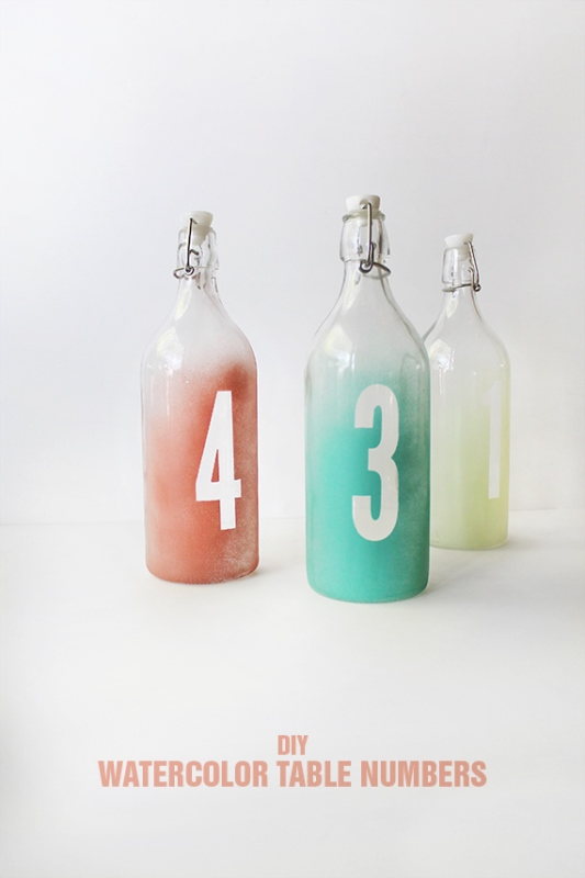 Picture Of easy diy watercolor table numbers for your wedding  1