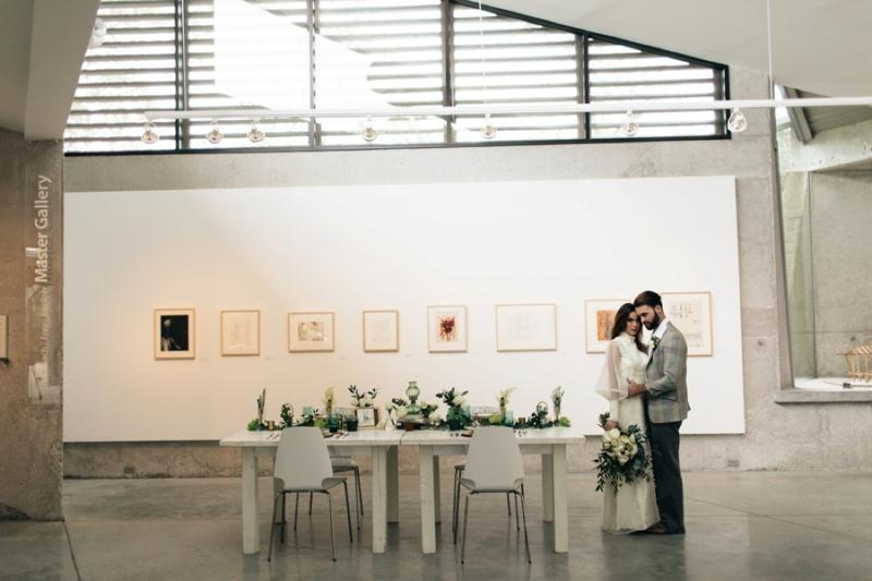 Picture Of eclectic chemistry inspired wedding shoot at the atlantic art center  19