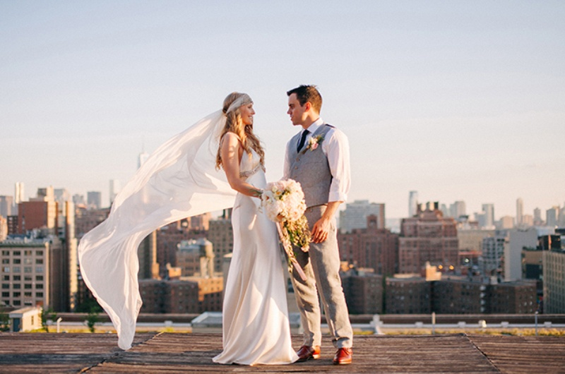 Picture Of eclectic sunset rooftop wedding in new york  1