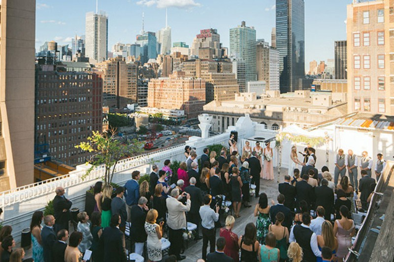 Picture Of eclectic sunset rooftop wedding in new york  12
