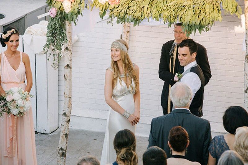 Picture Of eclectic sunset rooftop wedding in new york  13