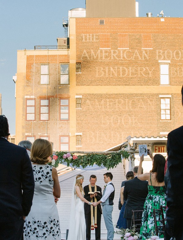 Picture Of eclectic sunset rooftop wedding in new york  14