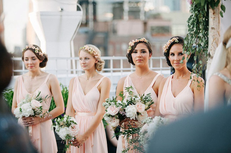 Picture Of eclectic sunset rooftop wedding in new york  15