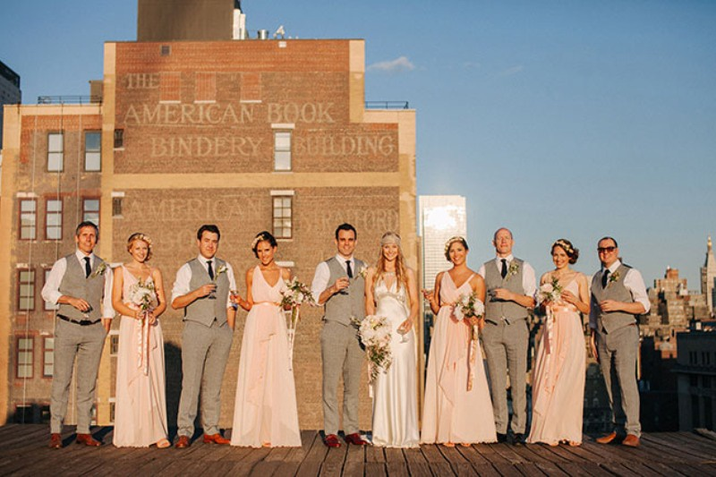 Picture Of eclectic sunset rooftop wedding in new york  19