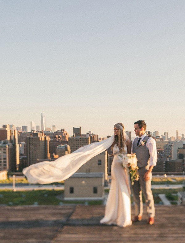 Picture Of eclectic sunset rooftop wedding in new york  20