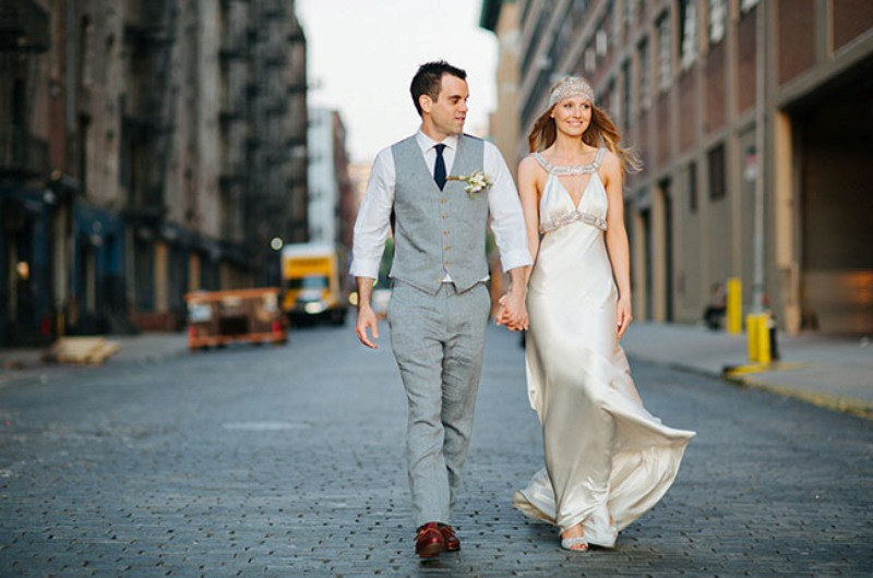 Picture Of eclectic sunset rooftop wedding in new york  21