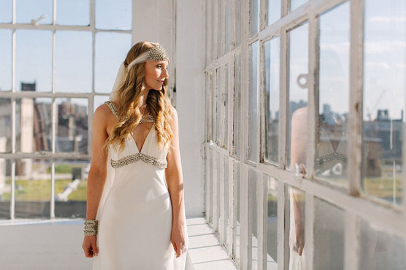 Picture Of eclectic sunset rooftop wedding in new york  5