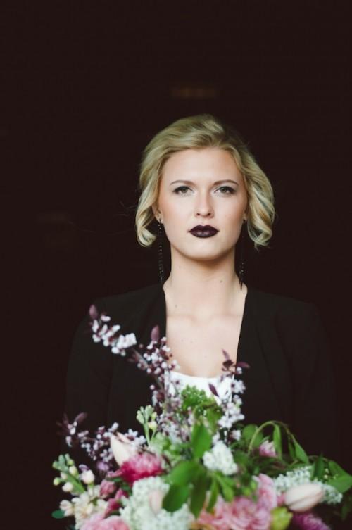 Edgy Black And Blush Pink Alternative Wedding Inspiration