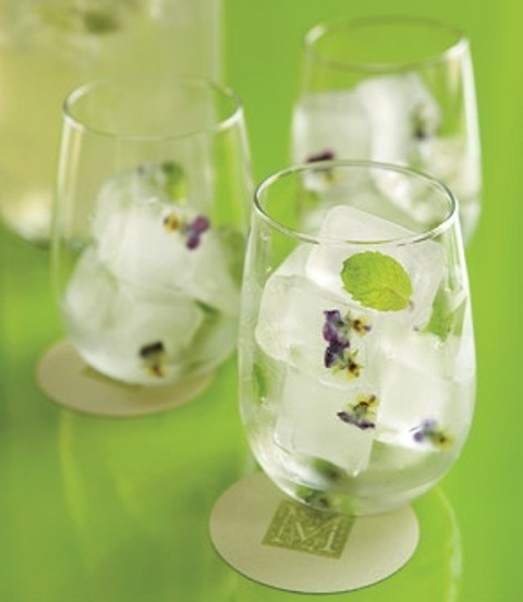 fresh blooms and fresh mint in ice cubes will make your wedding cocktails more special and cool
