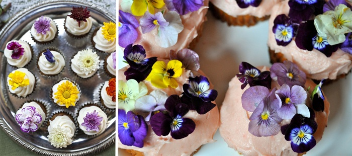 blush mini cakes and cupcakes topped with bright edible blooms   pansies, violets, nasturtiums, lemon marigold