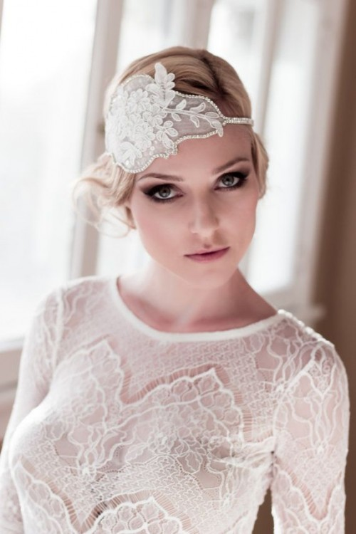 a lace embellished wedding headband will add chic to your vintage or art deco bridal look