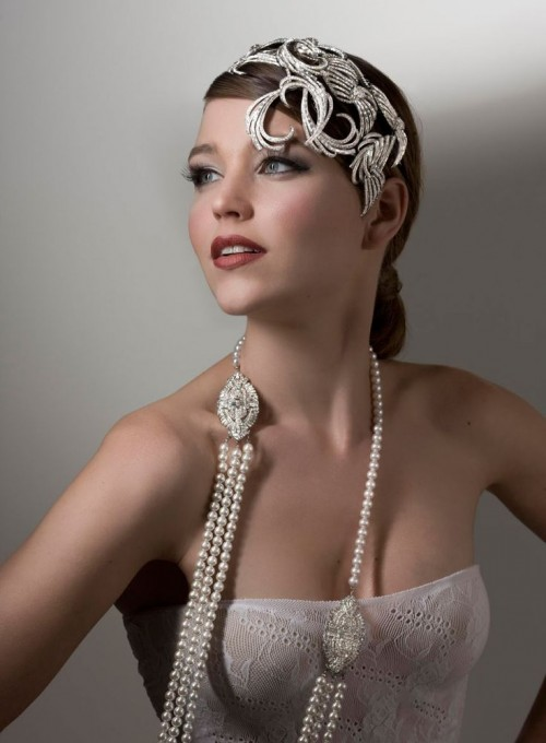 an embellished textural headband plus strands of pearls will make this bridal look amazingly statement-like
