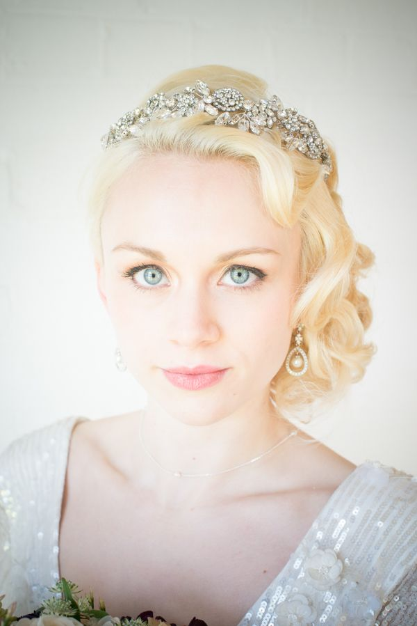 a refined heavily embellished headband will accent a vintage, art deco or just glam bridal look