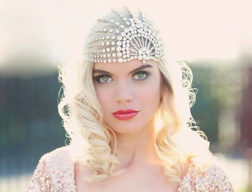 a fully embellished art deco bridal headband is a lovely and chic idea to make a statement in your look