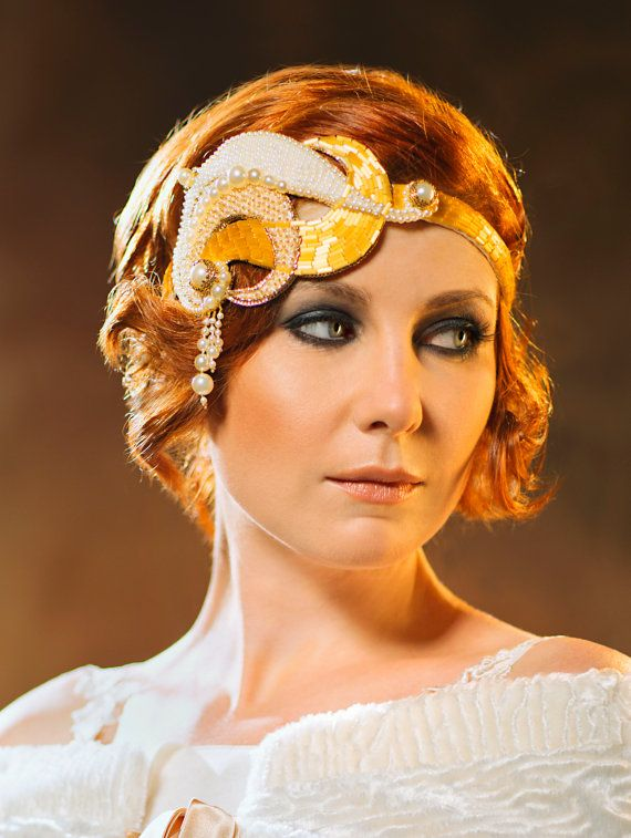 a whimsical embellished headpiece in white and gold, with pearls and beads is a lovely art deco accessory to rock