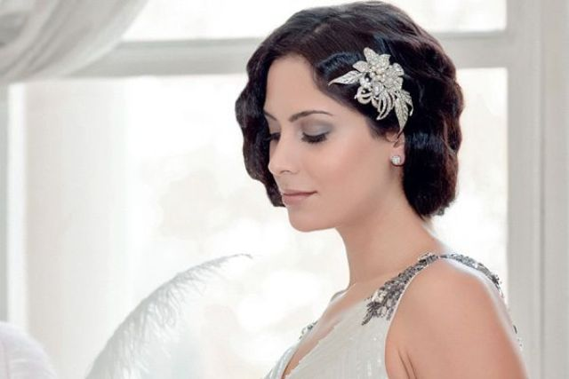 a chic art deco embellished floral headpiece will accent your look without looking too much and make it wow