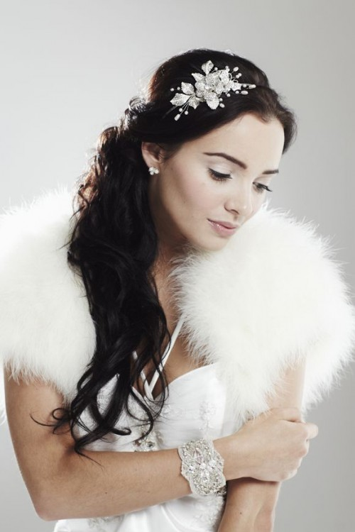 an embellished and pearl botanical headband and matching earrings will make this art deco bride refined and chic