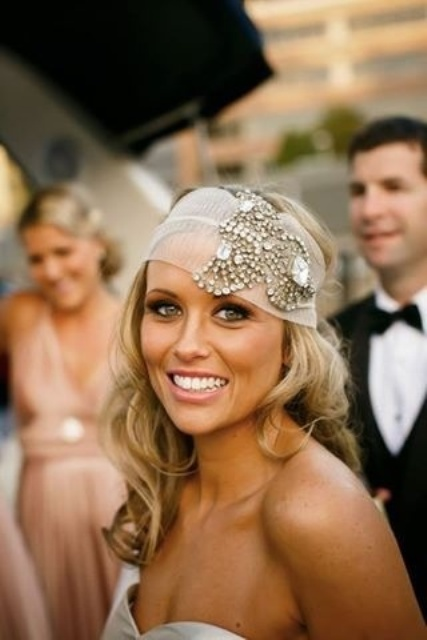 a sheer headband with heavy embellishments will make your bridal look fantastic and beautiful