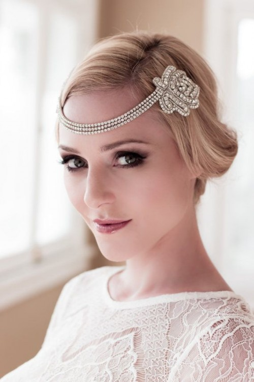 an embellished art decor bridal headpiece with rows of rhinestones will be an amazing addition to an art deco bridal look