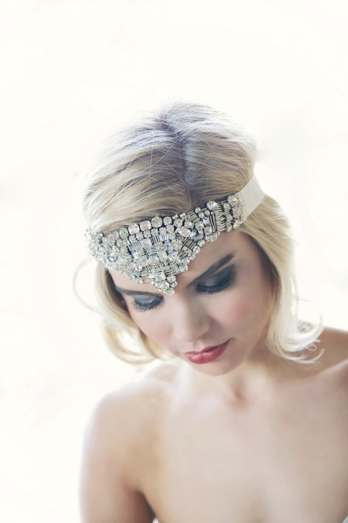 a bold rhinestone headband will make a bold and chic statement in your bridal look