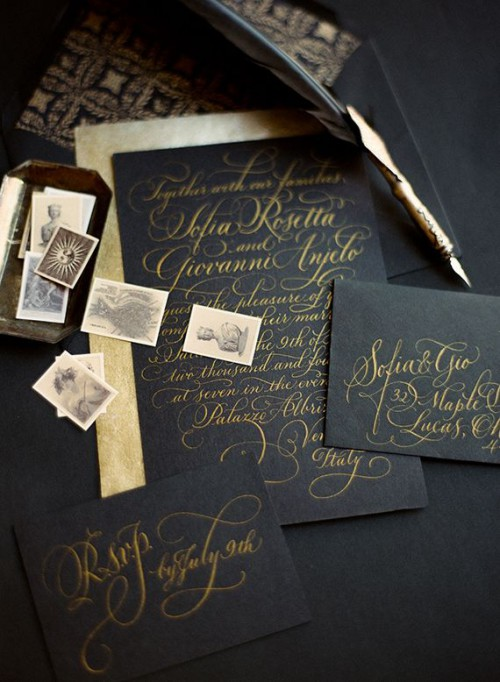 sophisticated black and gold weddding stationery suite with calligraphy