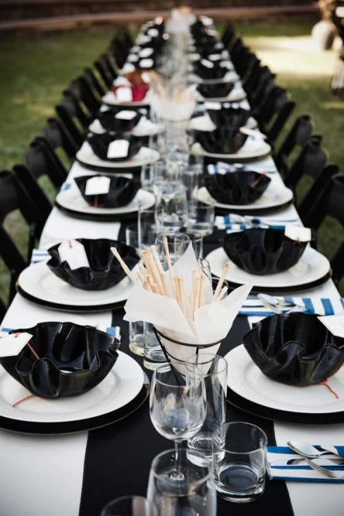 52 Elegant Black And White Wedding Table Settings