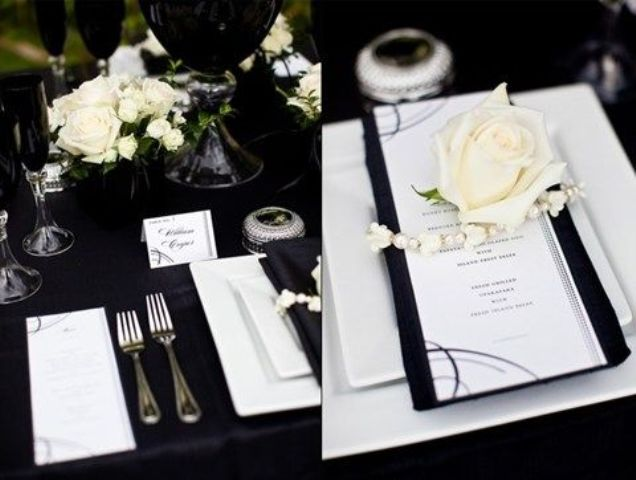 & Picture Of Elegant Black And White Wedding Table Settings