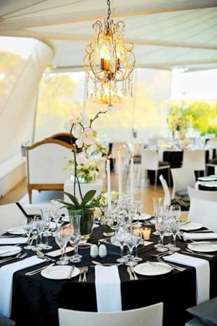 Black and white table setting ideas weifeng furniture - Epic image of dining room decoration with various black and white table setting ideas ...