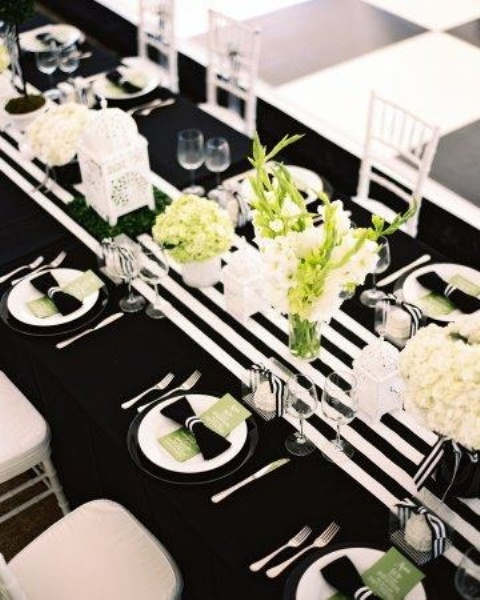 52 elegant black and white wedding table settings - Black and white decor pictures ...
