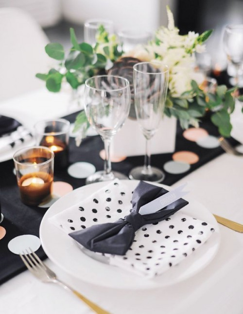 Elegant Black And White Wedding Table Settings