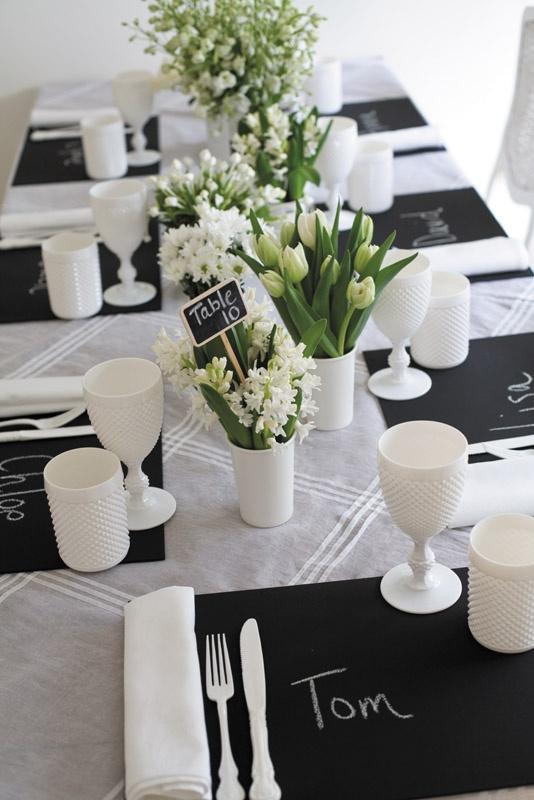 Perfect Elegant Black And White Wedding Table Settings